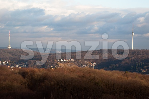Stuttgart TV and Radio Towers Stock Photo