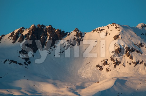 sunset in winter mountains landscape Stock Photo
