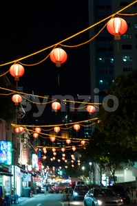 Singapore Chinatown Cityscape At Night Stock Photo