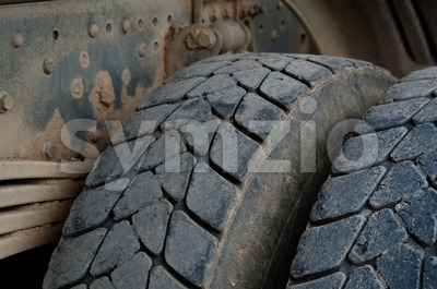 Dump Truck Tires Stock Photo
