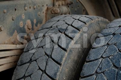 Dump Truck Tires Stock Photo