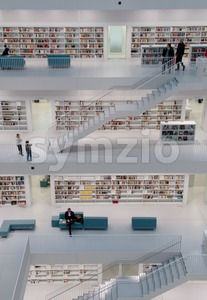 Stuttgart - Contemporary public library Stock Photo