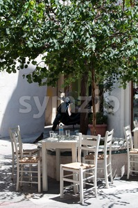 Cozy greek taverna Stock Photo