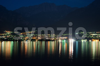 Mandello De Lario At Lake Como At Night Stock Photo
