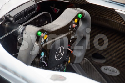Steering wheel of Mercedes Formula 1 car Stock Photo