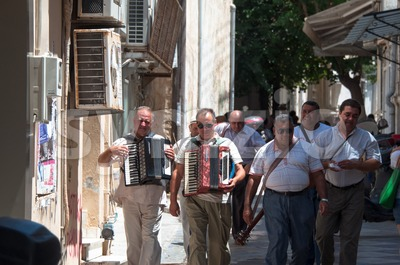 Greek street musicians Stock Photo