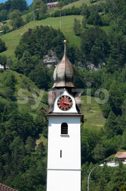 beautiful church in alpine landscape Stock Photo