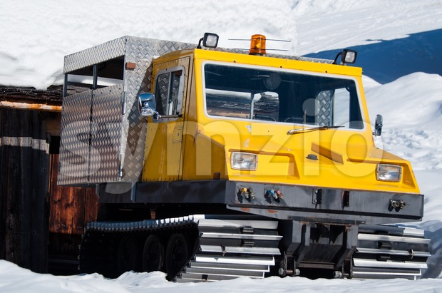 Old snow groomer Stock Photo