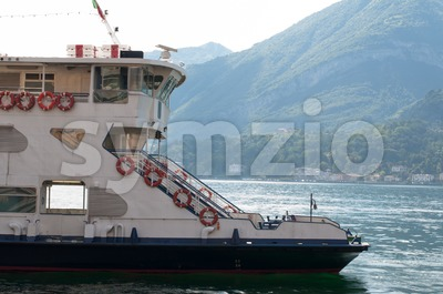 Ferry passing lake Como, Italy Stock Photo