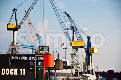 Massive Dry-Dock in Hamburg Harbor, Germany Stock Photo