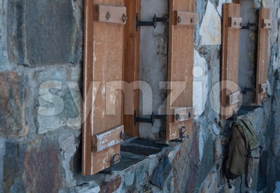Old stone house in the Austrian alps Stock Photo