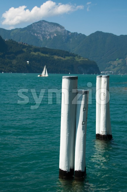 Sailing Boats and beautiful mountain panorama at Lake Lucerne, Switzerland