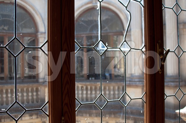 old lead glass window Stock Photo