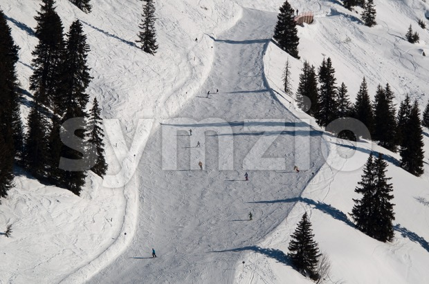 Snow covered ski piste surrounded by trees on sunny day at Montafon, Austria