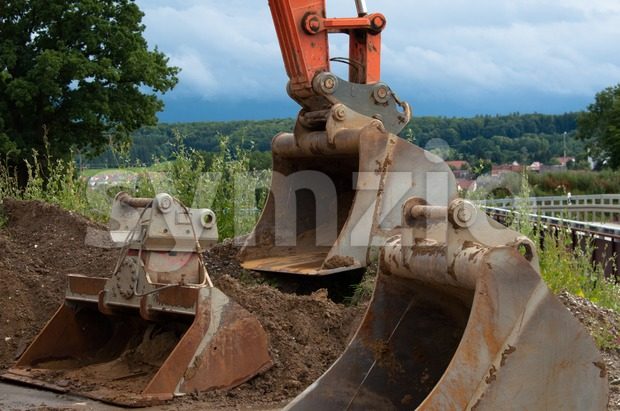Excavator shovels Stock Photo