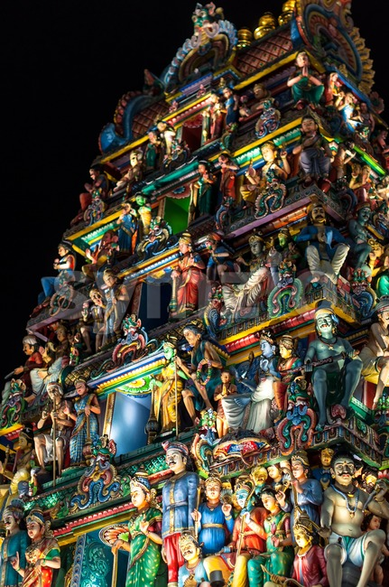 Sri Mariamman Temple Singapore at night Stock Photo