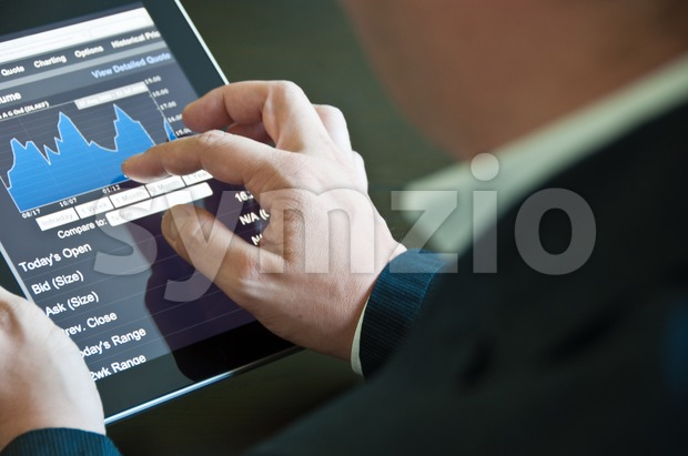 Businessman with digital tablet PC Stock Photo