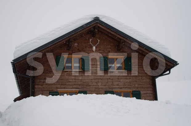 Skiing hut in Montafon Stock Photo