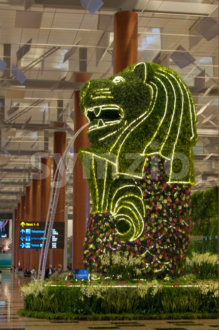 Singapore Airport - Merlion Stock Photo
