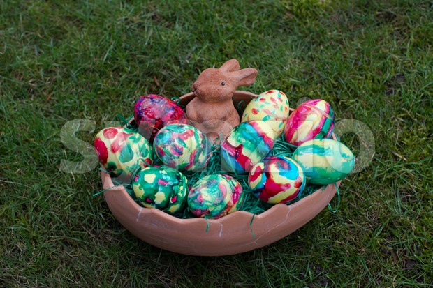 Easter basket in grass Stock Photo