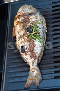 Gilthead Seabream on BBQ Stock Photo