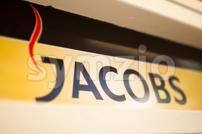 Jacobs logo in a cafe Stock Photo