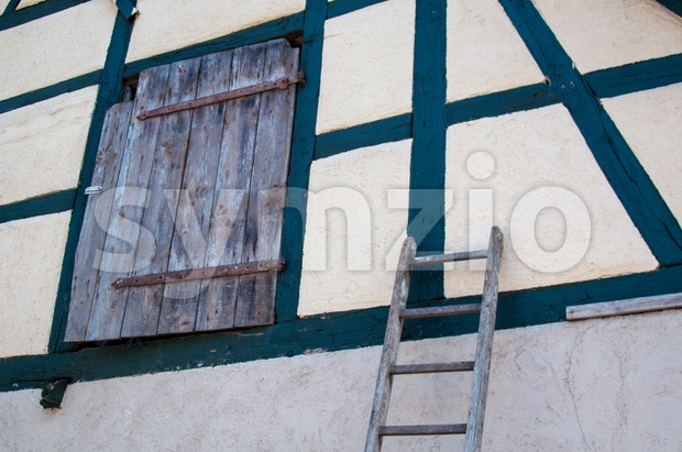 old half-timbered barn Stock Photo
