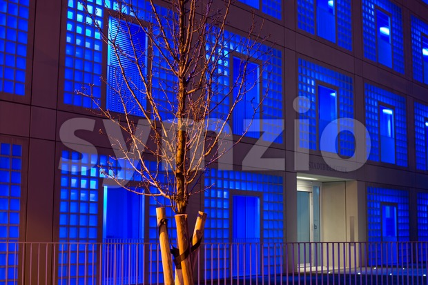 STUTTGART, GERMANY - MARCH 05, 2013: The new municipal public library in Stuttgart, Germany at night on March 05, 2013. ...