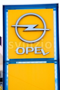 Broken Opel Sign Stock Photo