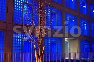Stuttgart public library at night Stock Photo