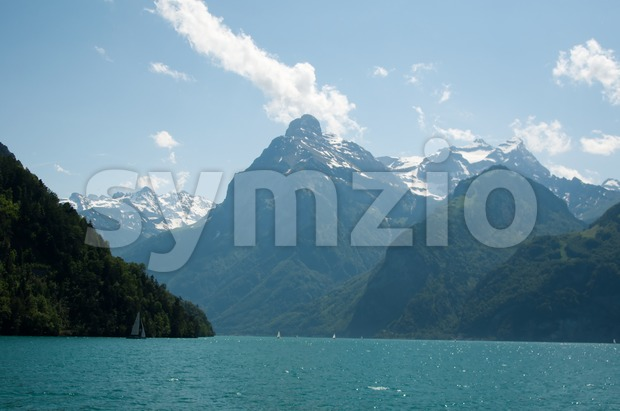 Sailing In Lake Lucerne Stock Photo