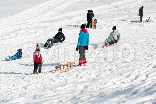 Stuttgart, Germany – February 9, 2013: Kids and families having fun with their sledges, bright and white winter scene on ...