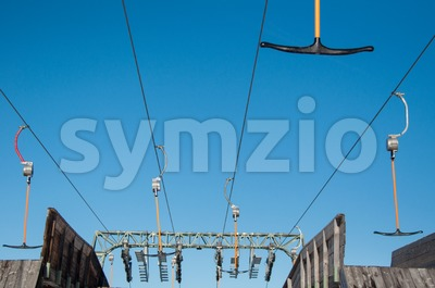 T-bar ski lift detail Stock Photo