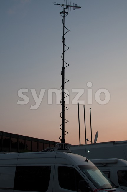 Broadcast Trucks Stock Photo