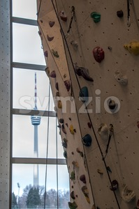Climbing Wall in Stuttgart venue Stock Photo