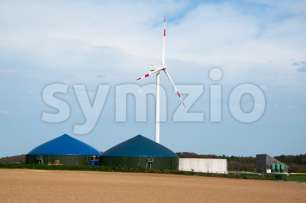 Biogas Plant With Wind Turbine Stock Photo