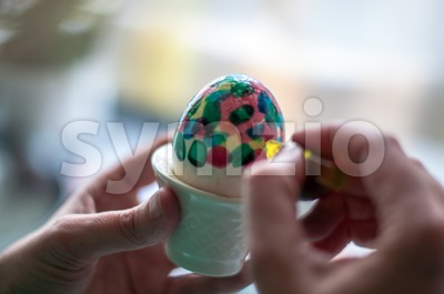 Hand painting of Easter eggs Stock Photo