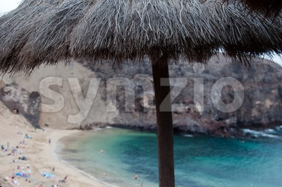 Parasol  at Papagayo Beach Stock Photo