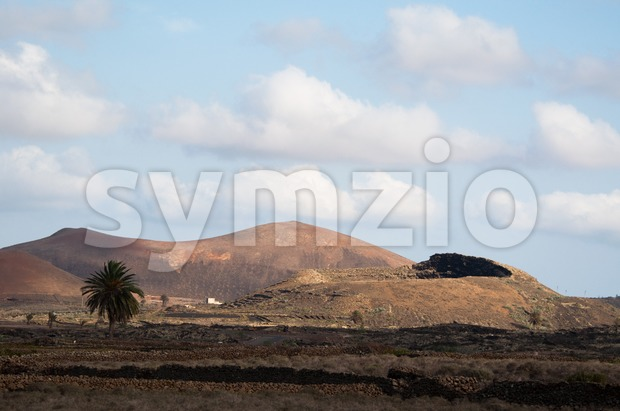 Vulcanic Landscape Under The Extincted Vulcano Stock Photo
