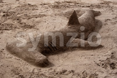 Hammerhead Shark Made Of Sand Stock Photo
