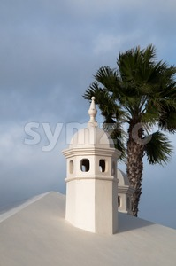 Typical Lanzarote Chimneys Stock Photo