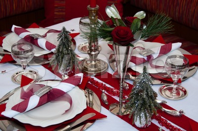 Red Christmas Table Stock Photo