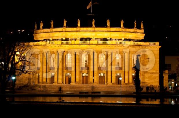 The old opera house in Stuttgart at night Stock Photo