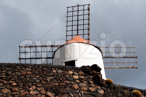 Typical Windmill on Lanzarote Stock Photo