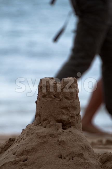 Sand Castle on Costa Teguise Beach, Lanzarote Stock Photo