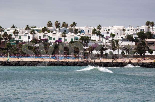 The Beach Of Costa Teguise, Lanzarote Stock Photo