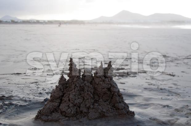 Sand Castle on Famara Beach, Lanzarote Stock Photo