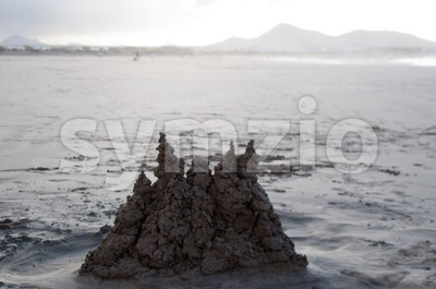 Sand Castle on Famara Beach, Lanzarote Stock Photo