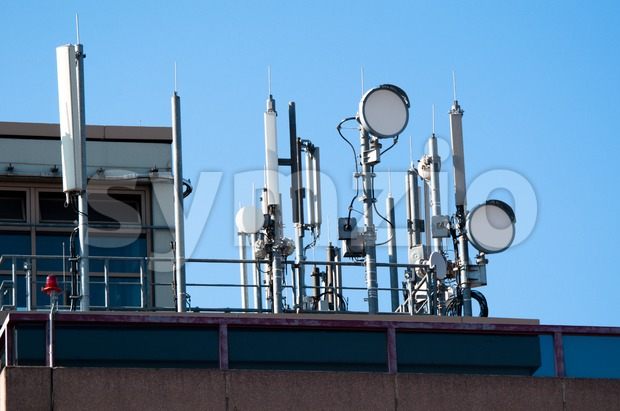 Communication satellite dishes and aerials Stock Photo