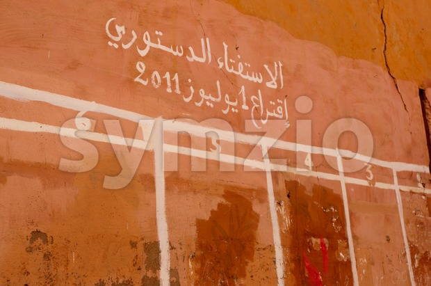 Candidates wall for elections in Marrakech, Morocco - the candidates are posted here and (illiterate) people will memorize the number